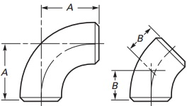 The technical drawing of ASME B16.9 3D elbows