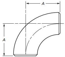 The technical drawing of ASME B16.9 short radius elbows