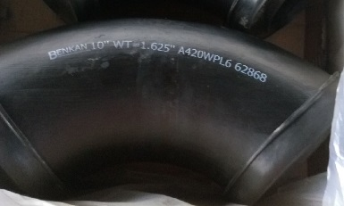 "90° L/R elbow, ASTM A420 WPL6, 10"" w.t=1.625""(42 mm)"