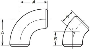 The technical drawing of ASME B16.9 long radius elbows.