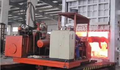 Heat treatment furnace for ASTM A707 forged flanges.