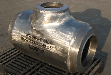 A pipe tee made of ASTM A335 P92