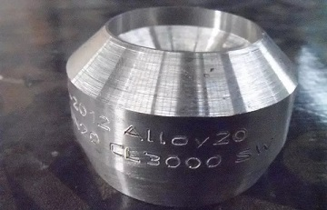 Alloy 20 weld outlet, Class 3000, MSS SP 97.
