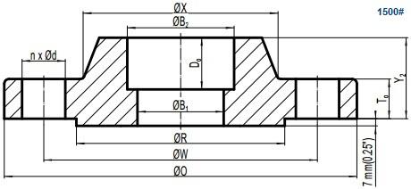 Drawing of ASME B16.5 Class 1500 socket welding flange, raised face(RF).
