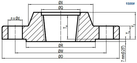 Drawing of ASME B16.5 Class 1500 threaded flange, raised face(RF).