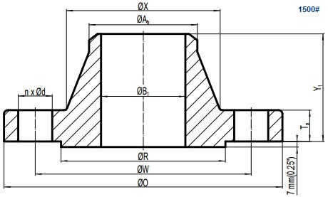 Drawing of ASME B16.5 Class 1500 weld neck flange, raised face(RF).