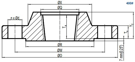 Drawing of ASME B16.5 Class 400 threaded flange, raised face(RF).