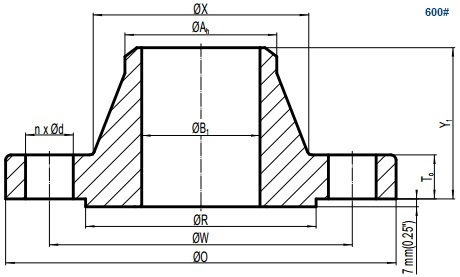 Drawing of ASME B16.5 Class 600 weld neck flange, raised face(RF).