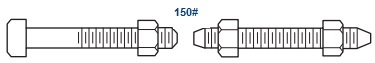 The drawing of stud bolt with nuts & machine bolt with nuts for ASME B16.5 Class 150 flanges.