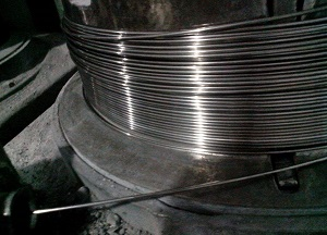 The cold drawing process for the manufacture of Inconel 600 wires.
