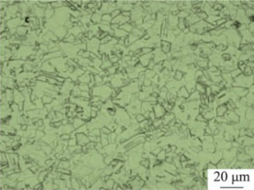 Microstructure of Inconel 600 specimen after solution treated at 1050°C.