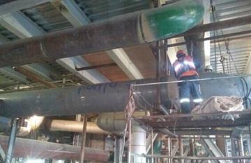 Hot reheat steam line in Argentina