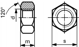 Drawing of Ti hex nuts