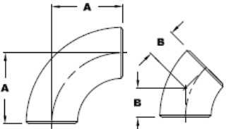Drawing of MSS SP 43 elbows