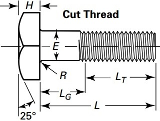 Drawing of square head bolt, cut head
