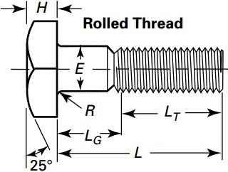 Drawing of square head bolt, rolled head