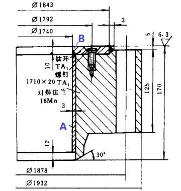 CS flange with titanium lining